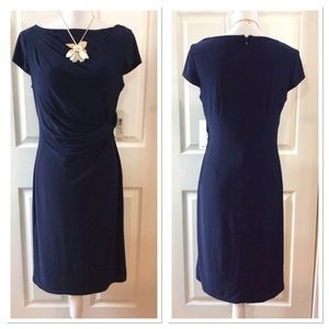 Eliza J Side Twist Navy Blue Sheath Dress